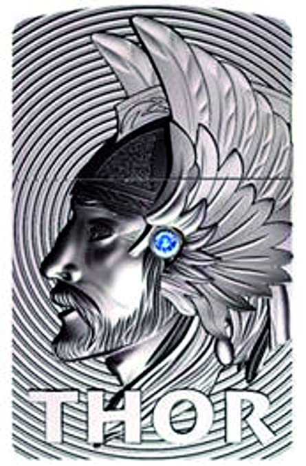 Zippo Thor 3D emblem windproof lighter with blue Swarovski Element, limited  edition, 0001/1000-1000/1000 chrome brushed platinum finish, hand brushed,