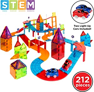 Best Choice Products 212-Piece Kids Magnetic Tile Car Track STEM Learning & Building Toy Set w/ 2 Light-Up Cars, Traffic Signs, Stickers