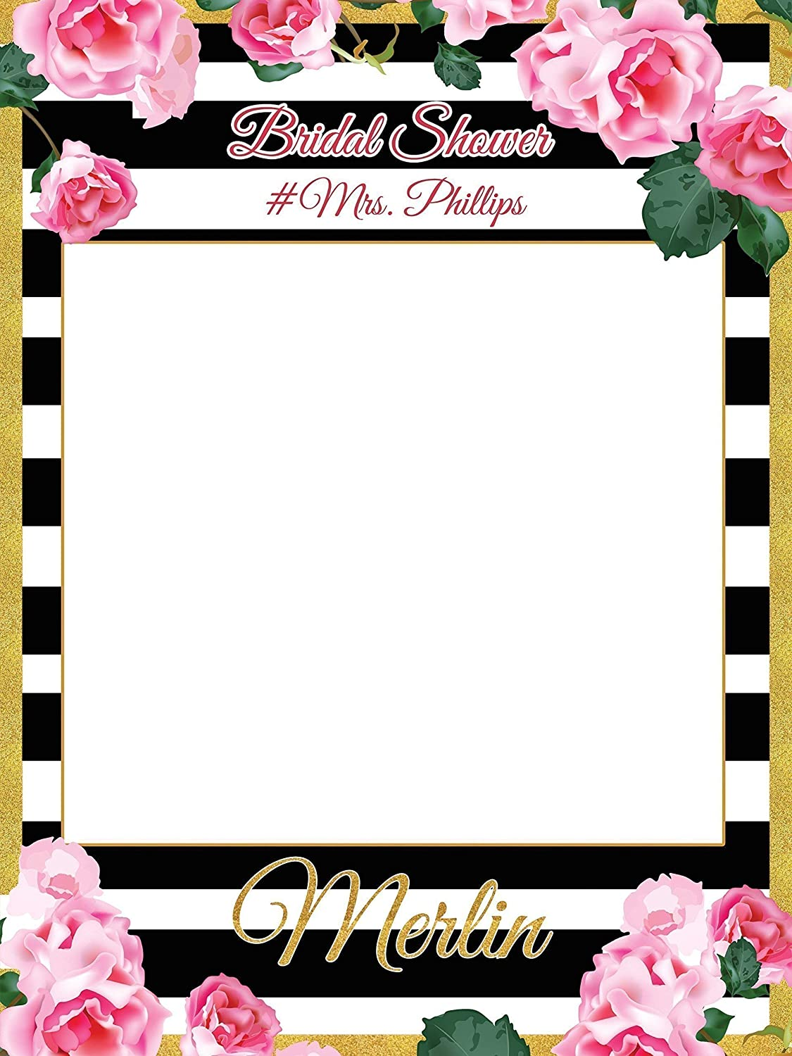 Flower Bridal Shower Photobooth Black White Photo Booth Prop Sizes 36x24 48x36 Personalized Bridal Shower Decorations Wedding Party Bride To