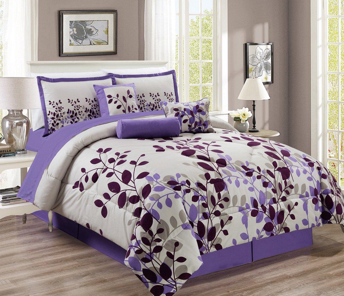 "11 Piece - Purple / Grey / Lilac Oversize Comforter Set ""FRESCA"" Vine Fine Printed Bed In A Bag King Size Bedding"