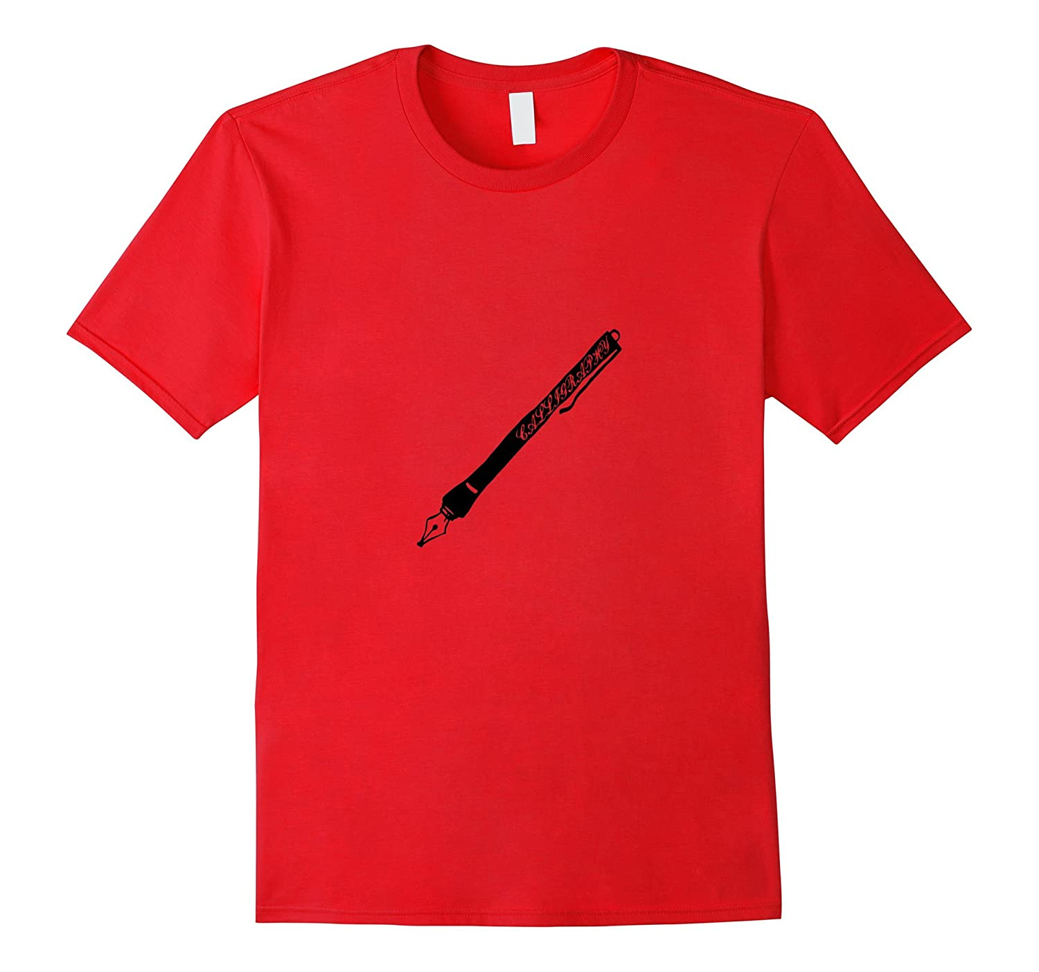 Calligraphy Style Writing Ink Pen T-Shirt Visual Art Tee-TH
