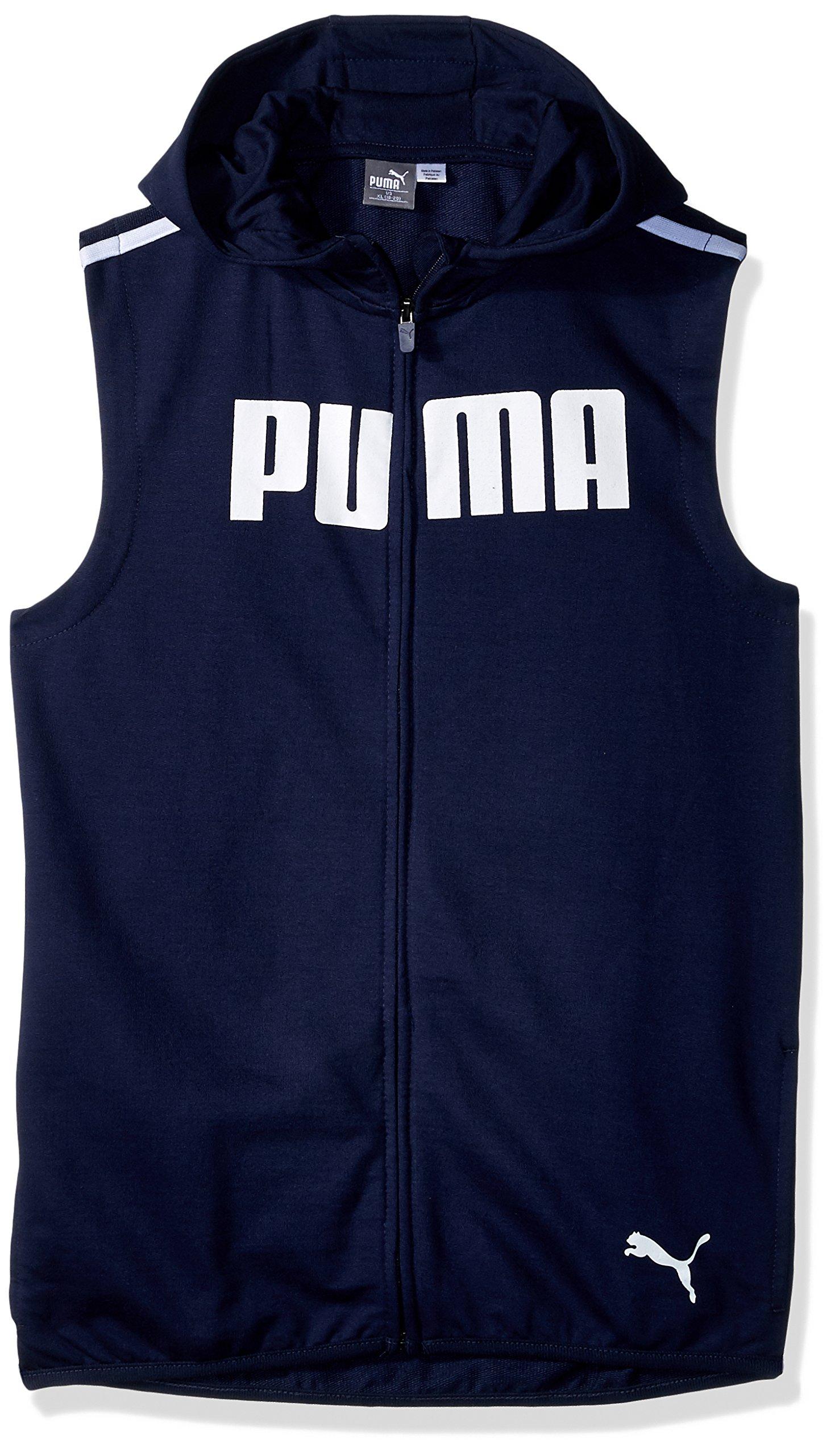 PUMA Toddler Boys' Dimicco Full Zip Hooded Vest, Peacot, 2T