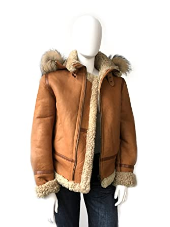 68948e12dba Women Genuine Shearling B-3 Bomber Jacket Winter Sheepskin Moto Coat  Natural Fur at Amazon Women's Coats Shop