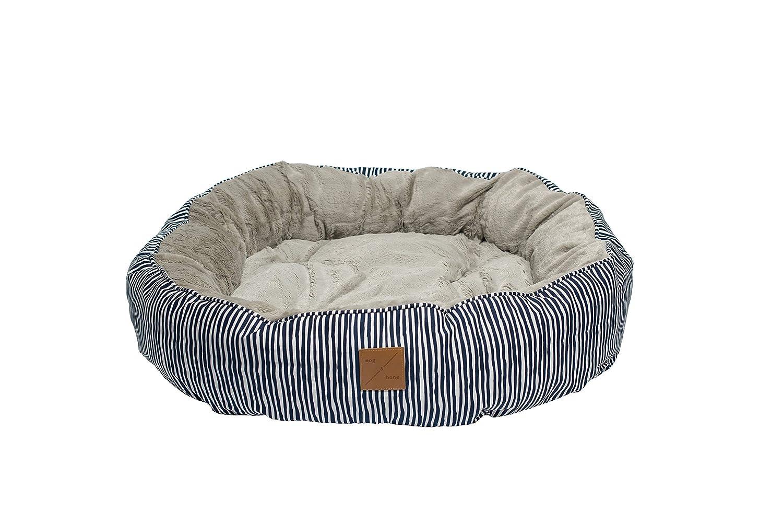 Small Mog & Bone4 Seasons Reversible Dog Bed bluee Stripe Print