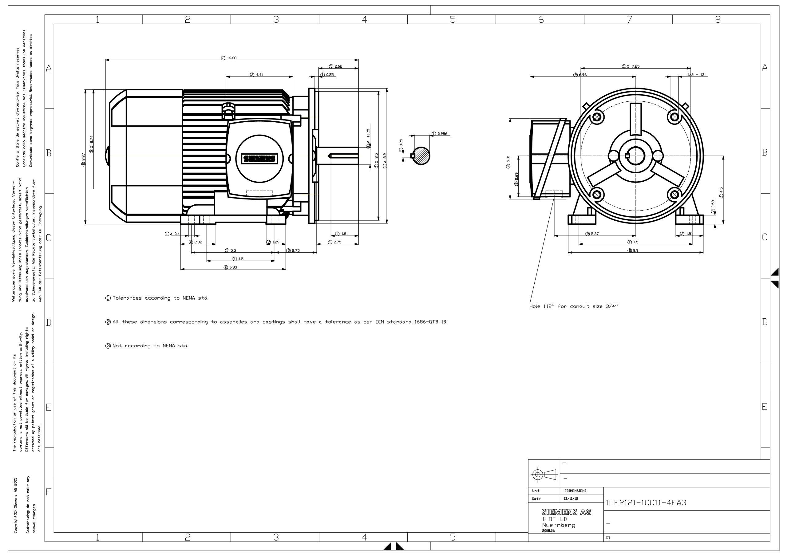 Siemens 1LE21211CC114EA3 1 5-HP 1200 Rpm 208 230/460-volt 182tc General Purpose Electric Motor Nema Premium Efficient Aluminum Frame, Aluminum Rotor by Siemens (Image #4)