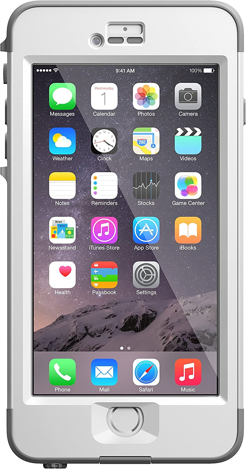 "LifeProof NÜÜD iPhone 6 Plus ONLY Waterproof Case (5.5"" Version) - Retail Packaging - AVALANCHE (BRIGHT WHITE/COOL GREY)"