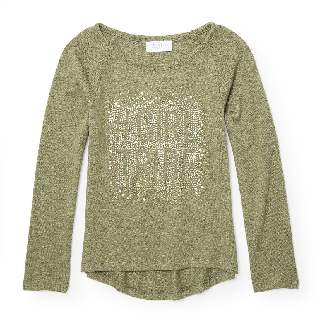The Children's Place Girls' Little Long Graphic Sleeve T-Shirt, Cypress Vine 88051, S (5/6)