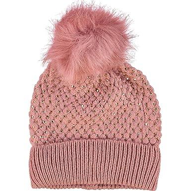 David   Young Ladies Pink Diamante Faux Fur Bobble Hat  Amazon.co.uk ... d3d99ea5748