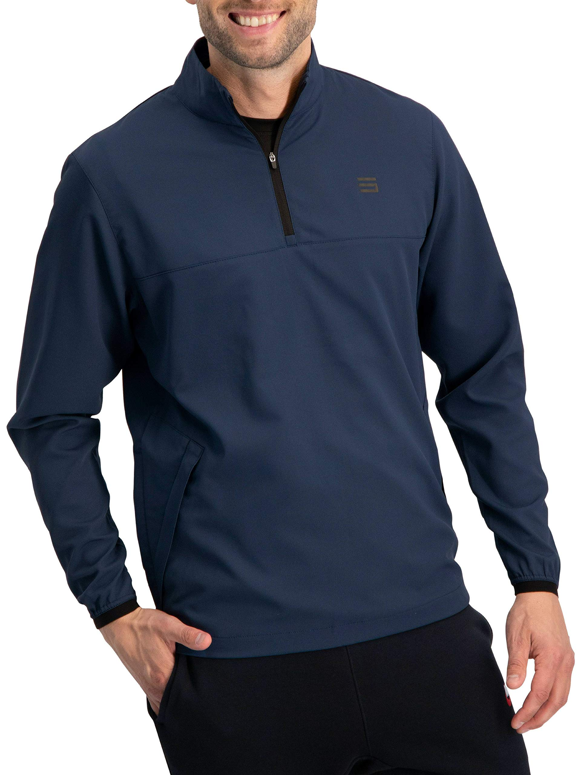 Mens Windbreaker Jackets - Half Zip Golf Pullover Wind Jacket - Vented, Dry Fit Deep Sea Blue by Three Sixty Six