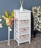 Commode campagnarde blanche table de chevet blanche avec 3 paniers en rose