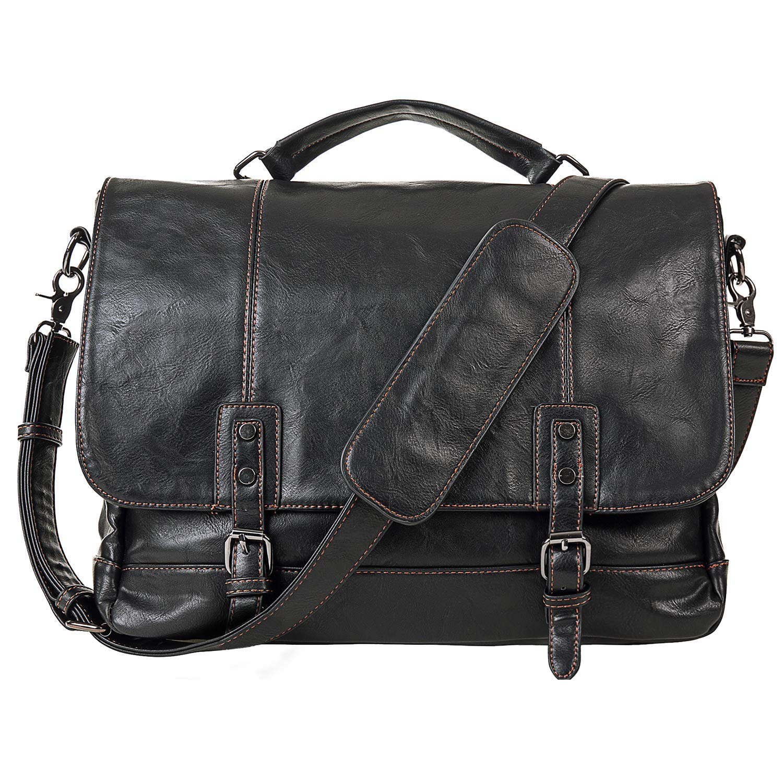 Mens Leather Messenger Bag 15.6 Inch Business Briefcase Waterproof Vintage Leather Large Satchel Shoulder Bag Leather Computer Laptop Bag Briefcase-Black