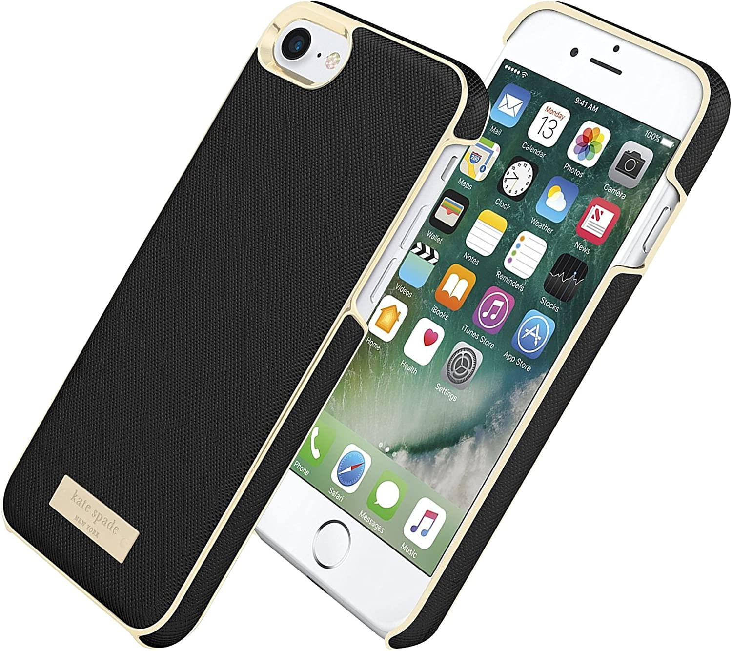 kate spade new york Saffiano leather Wrap Case for iPhone 7 - Saffiano Black/Gold