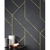 NEWROOM behang zwart vliesbehang lijnen - grafisch behang modern goud patroon patroon behang grafisch grafisch grafisch…