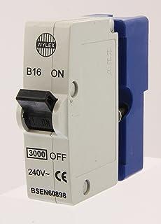 wylex mk 1 standard range - wyb16 - 16a type b single pole mcb