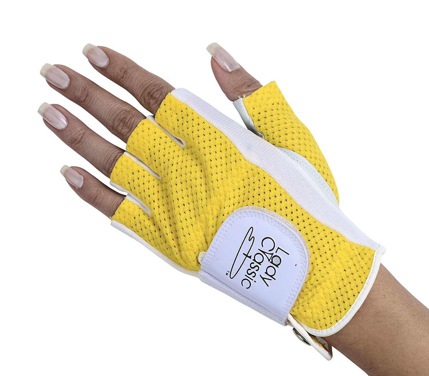 Lady Classic Half Glove Left Hand , White and Yellow, Small