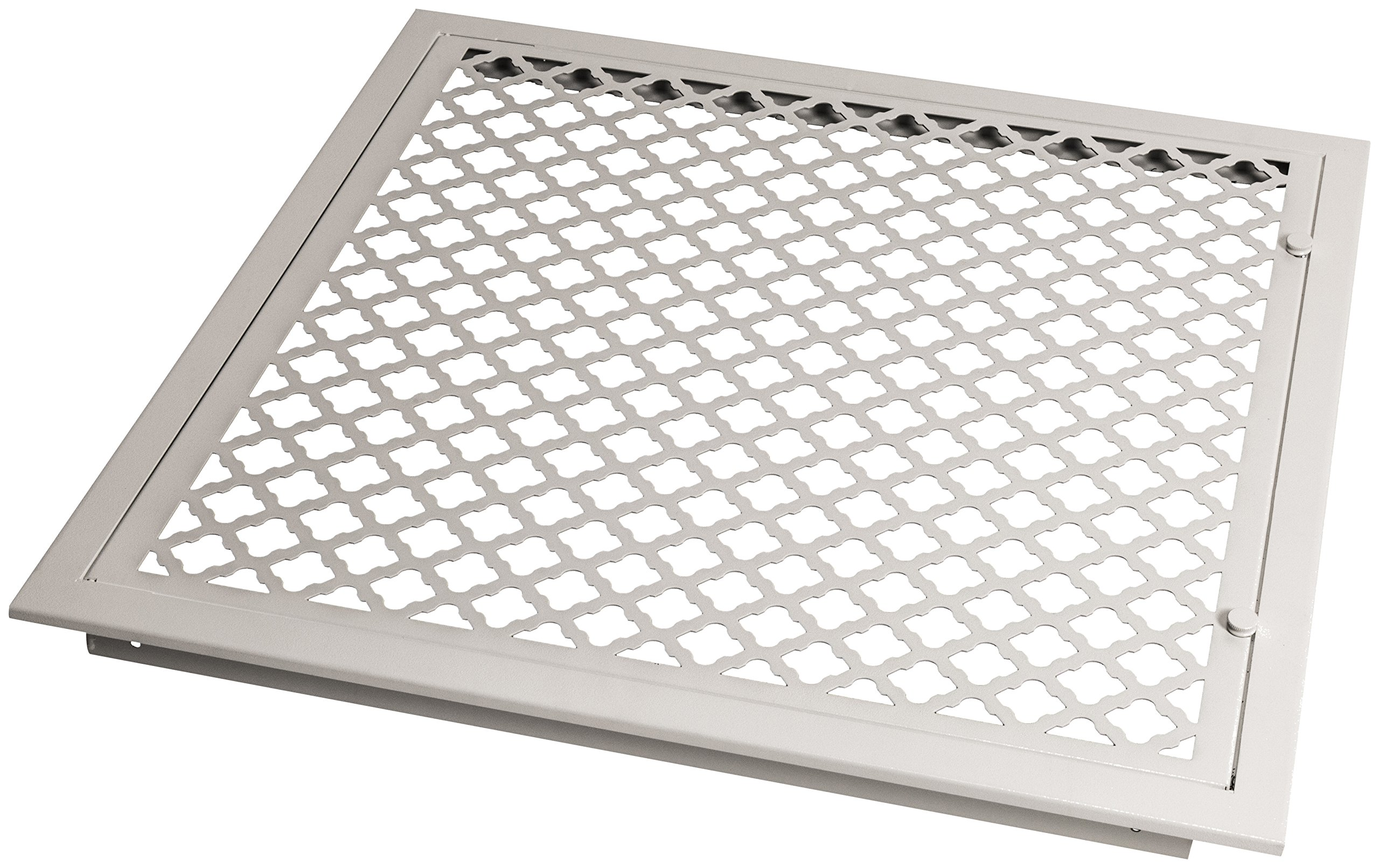 SteelCrest BTU20X20FFWH Bronze Series Designer Filter Return Vent with Hinged Door, White