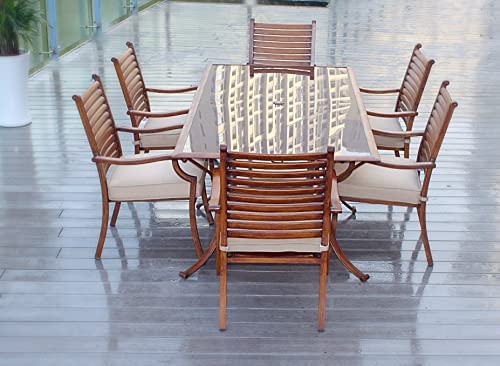 Pebble Lane Living All Weather Rust Proof Indoor Outdoor 7 Piece Cast Aluminum Patio Dining Set, 1 Tempered Tinted Glass Top Dining Table 6 Dining Chairs in Premium Olfen Cushions, Wood Finish