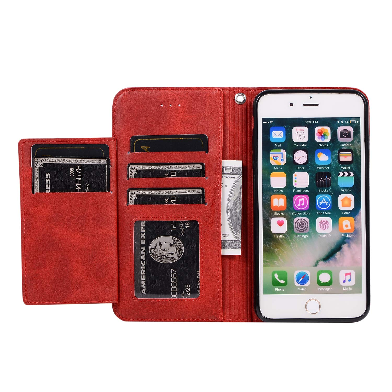 ZCXG Compatibile con Custodia iPhone 8 Plus//7 Plus Cover Portafoglio Donna Uomo Pelle Slim Cover a Libro Blu Silicone Cover Interno Antiurto Magnetica Stand Flip Case con Porta Carte Book Case