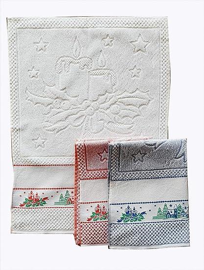 M&O Andrea Paños secador de Platos navideños Variante Velas y Paisaje navideño Juego de Tres Piezas