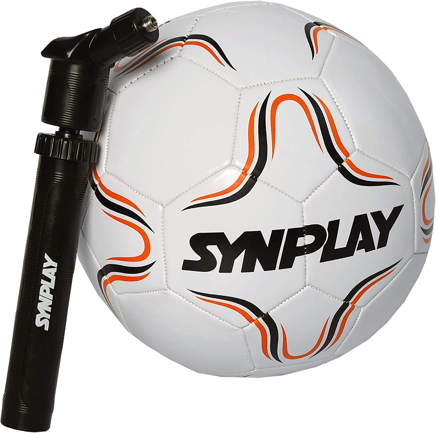 "SYNPLAY Machine Stitched Mini Foot Ball with Pump, Size 1, Pump 6"" (White)"
