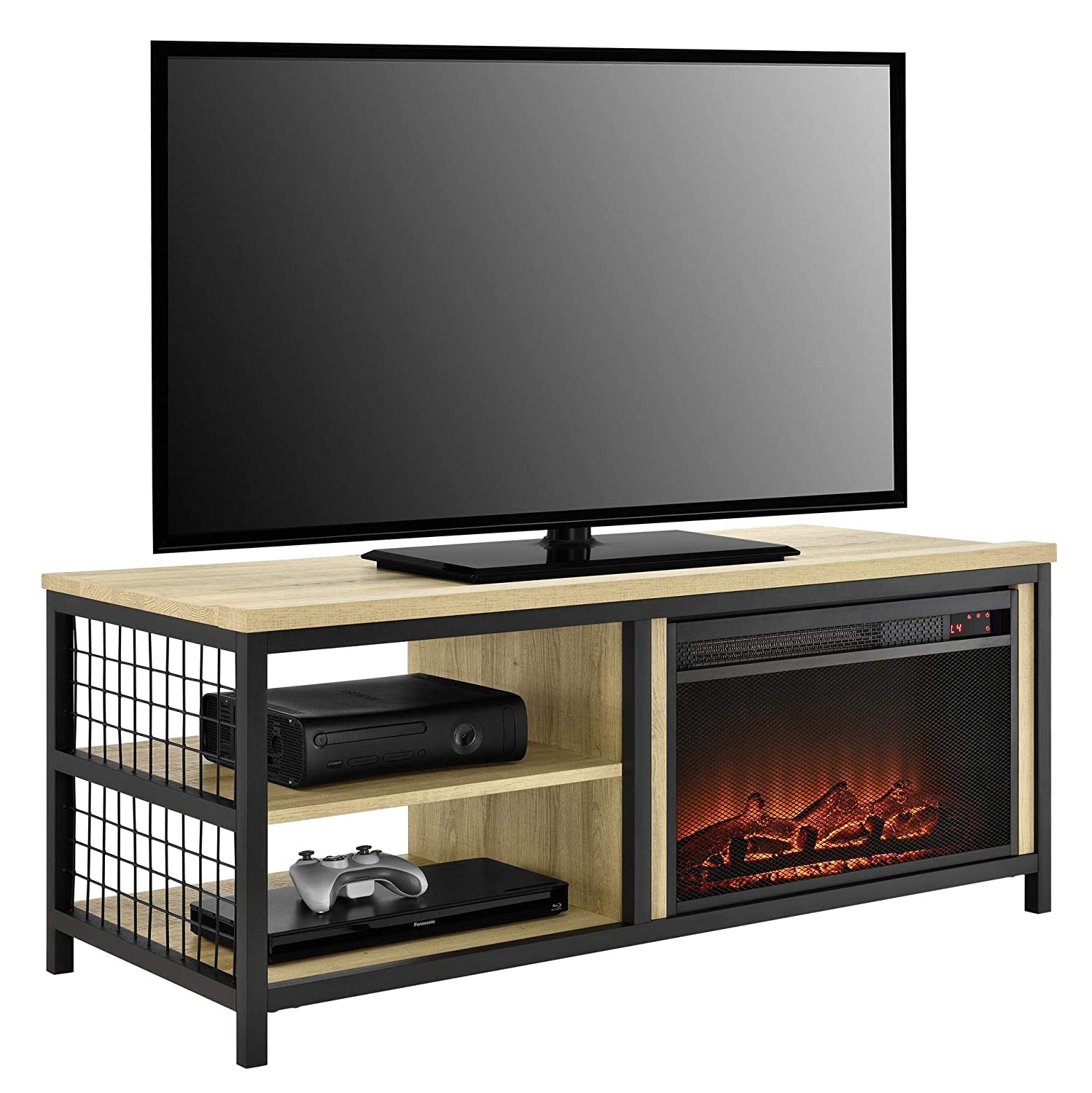 Ameriwood Home Brookspoint Fireplace TV Stand for TVs up to 55 , Golden Oak