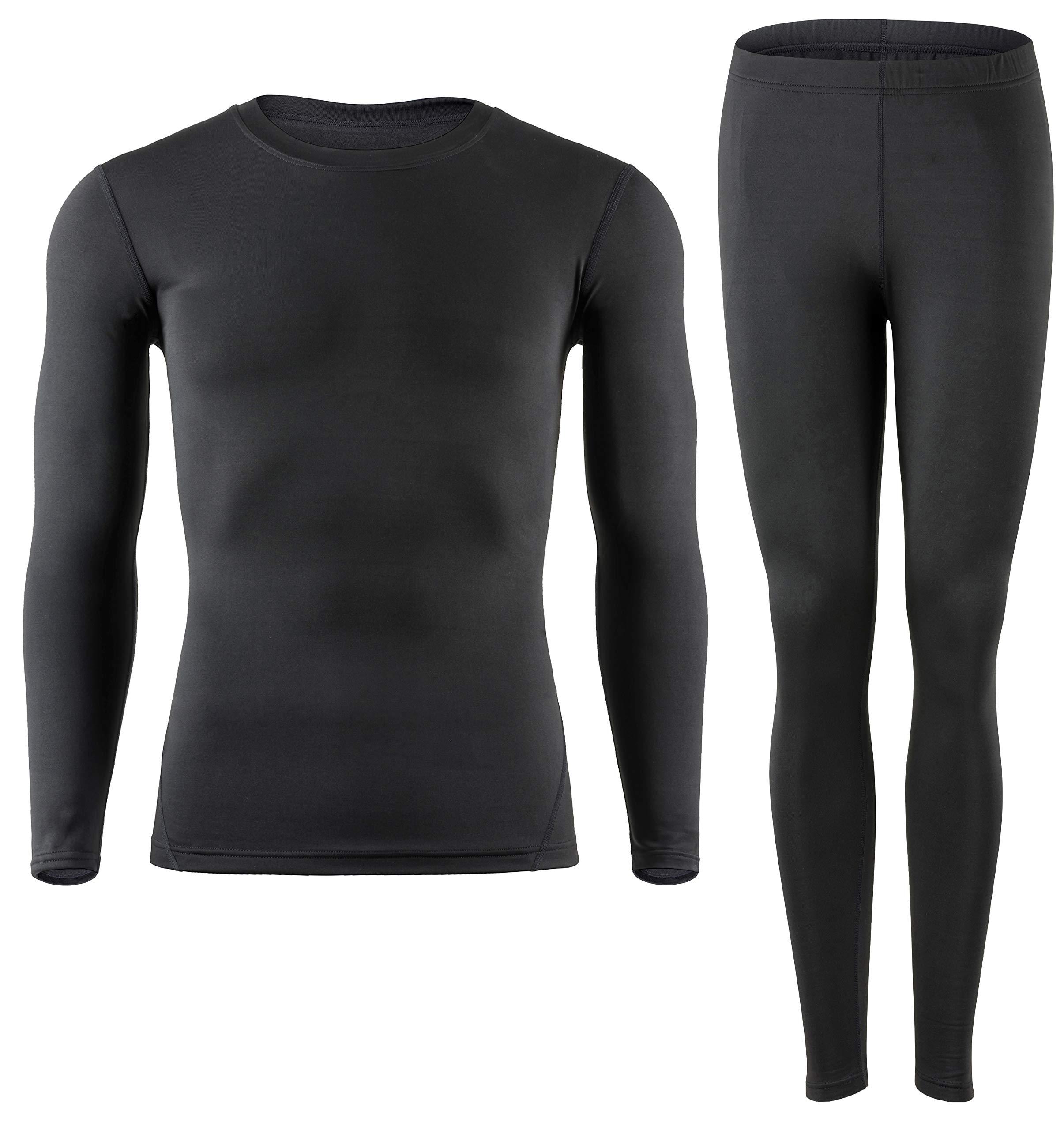 MOLLDAN Men's Thermal Underwear Baselayer Long Johns Tops & Bottom Set with Fleece Lined(L,Black) by MOLLDAN