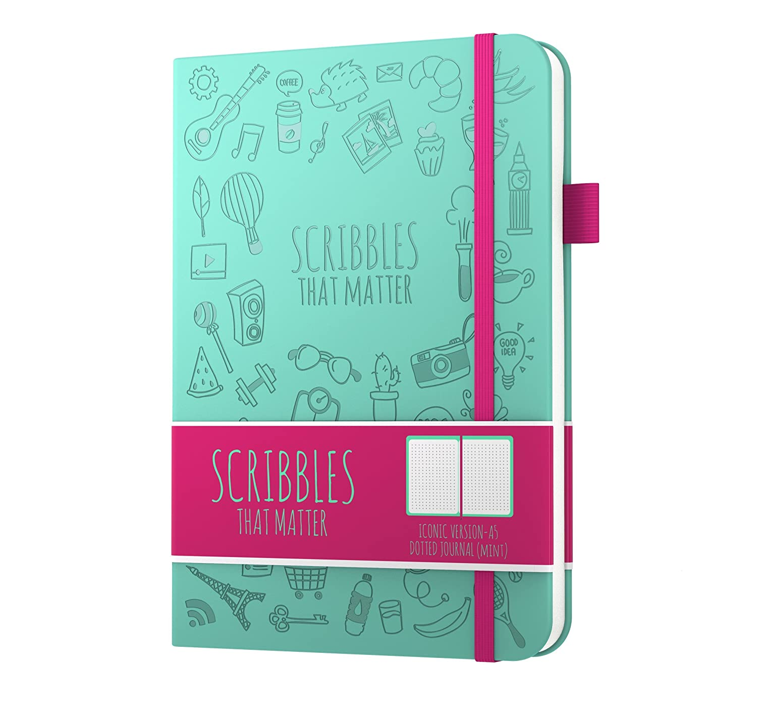 Scribbles That Matter (Iconic Version) Dotted Journal Notebook Diary A5 - Elastic Band - Beautiful Designer Cover - Premium Thick Paper (Lavender)