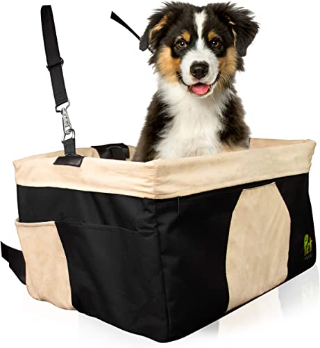 Pet Car Booster Seat, Waterproof with Steel Frame Removable Luxurious Faux Suede Cover for Easy Convenience Travel