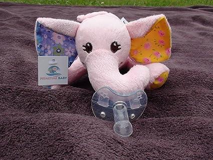 Elefante rosa de peluche con chupete (2 en 1)