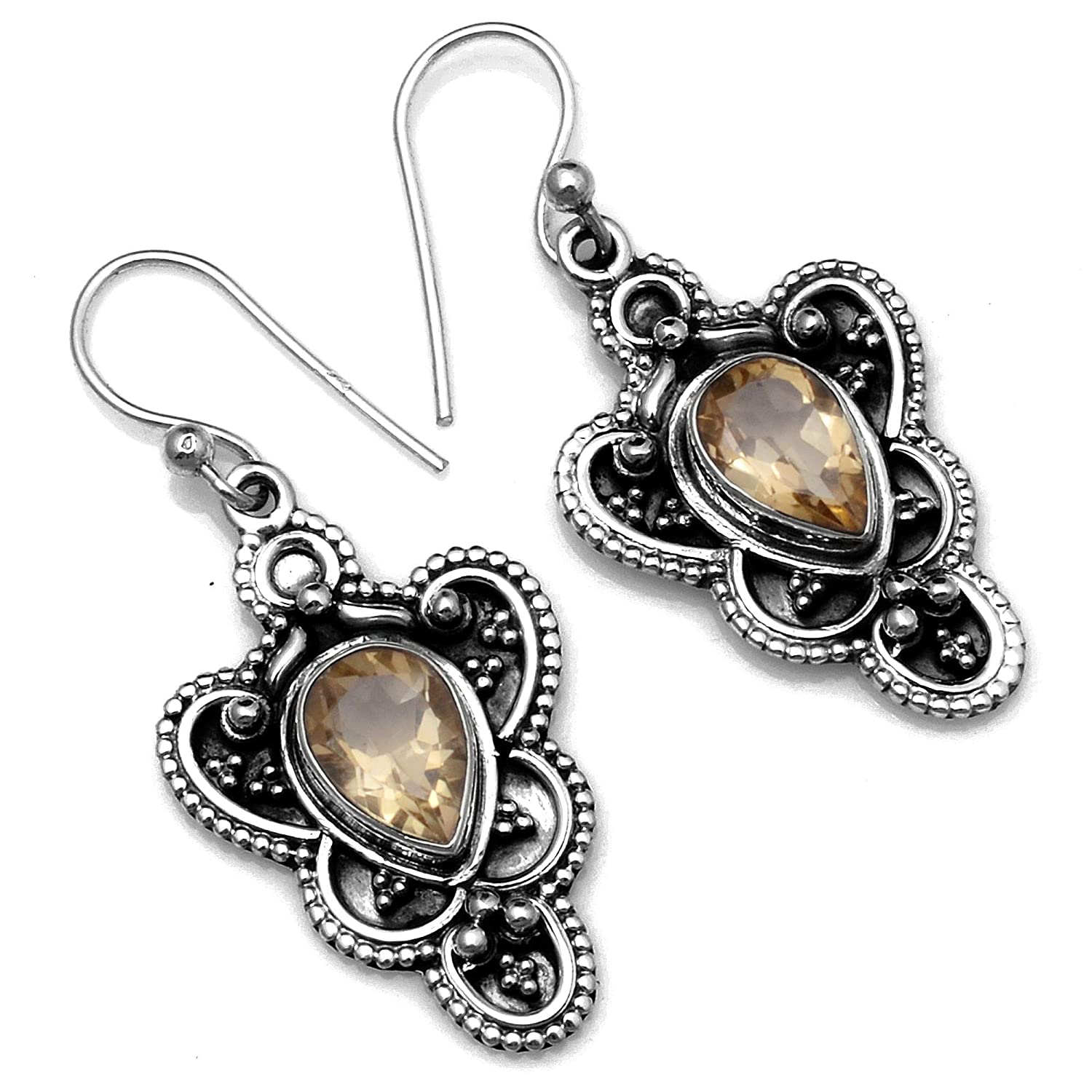 Silver Palace Sterling Silver Citrine Earrings for Womens and Girls
