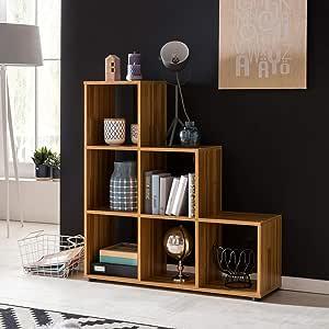 BuyDream - Estantería escalonada de Madera de Haya, 6 estantes, 104,5 x 111 x 29 cm, Divisor de Espacios para Carpetas y Libros, pequeña estantería para escaleras: Amazon.es: Juguetes y juegos