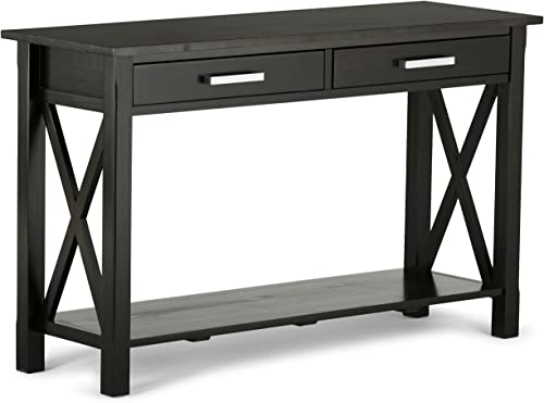 Simpli Home 3AXCRGL003 Kitchener Solid Wood 47 inch Wide Contemporary Console Sofa Table in Dark Walnut Brown