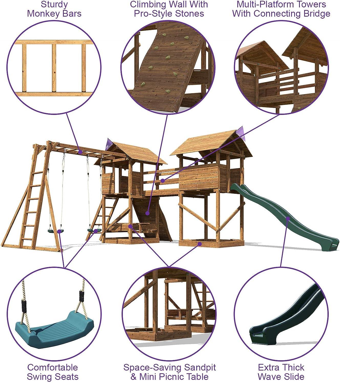 MegaFort Mountain Kids Climbing Frame Swing Set Slide Climbing Wall Monkey Bar