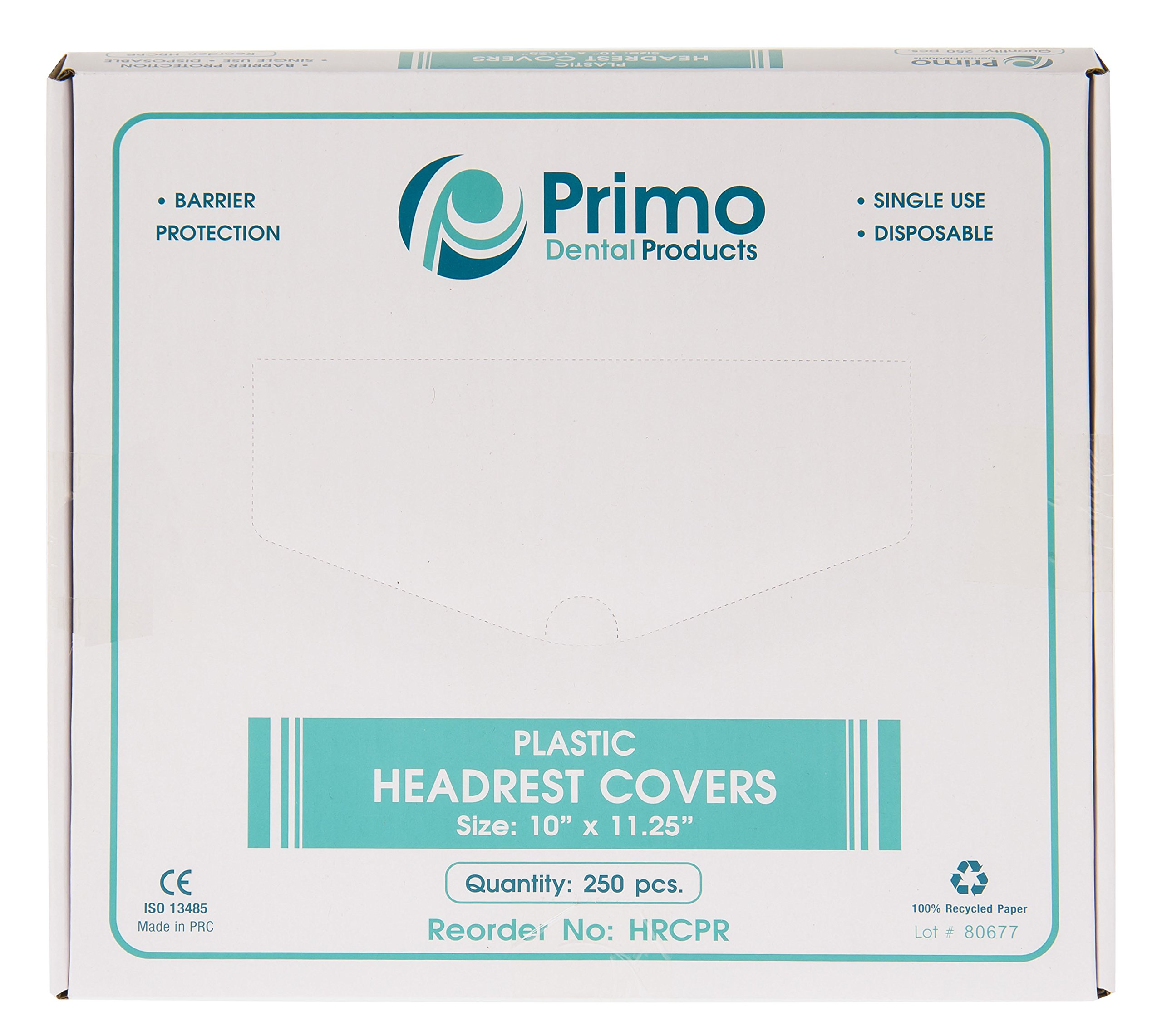 Primo Dental Products HRCPR Headrest Covers Plastic, Regular, 10'' x 11.25'' (Pack of 250) by Primo Dental Products