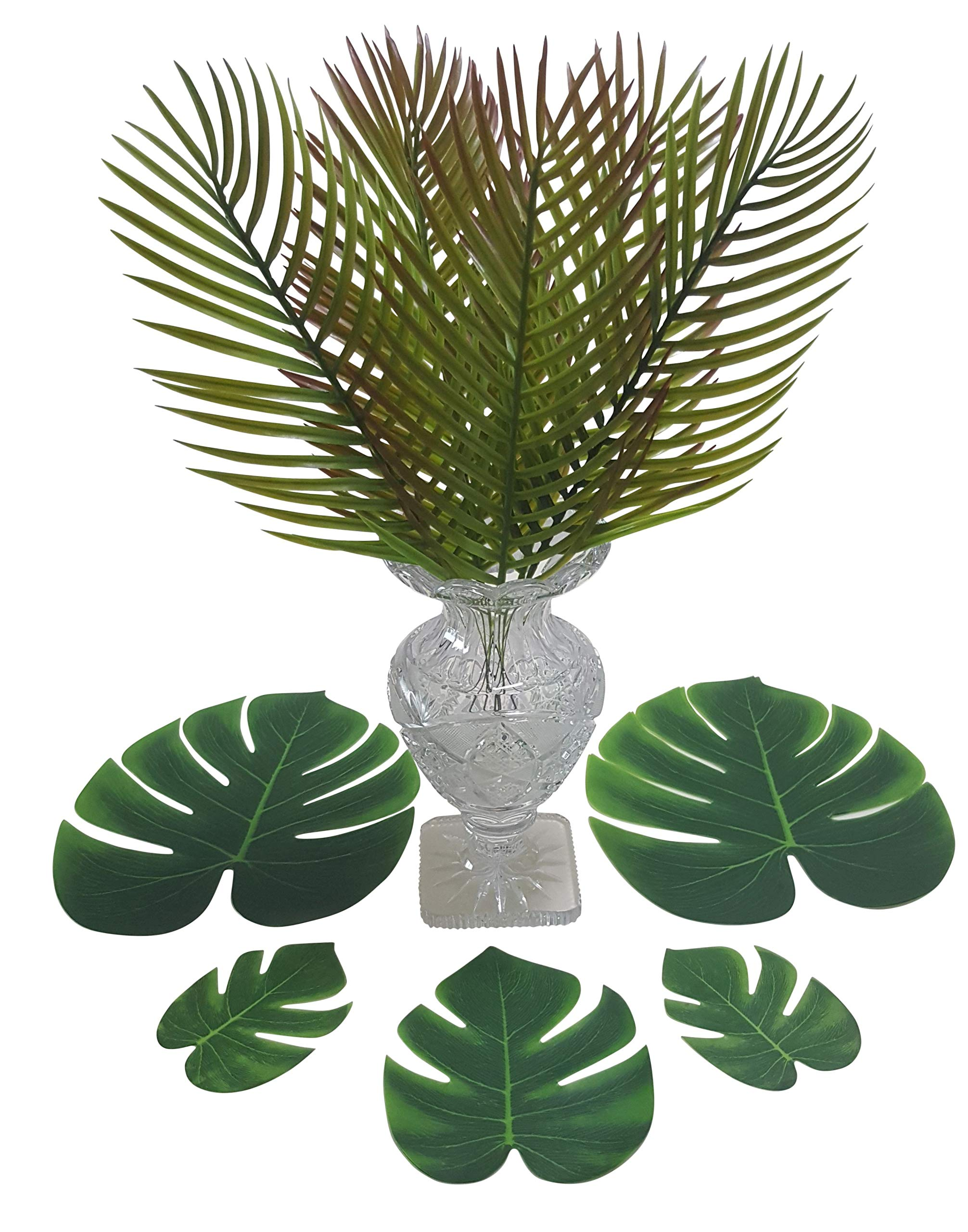 ShoppeWatch-Artificial-Palm-Leaves-with-Stem-and-Tropical-Monstera-Fronds-48-Pcs-Philodendron-Party-Decorations-Faux-Palm-Tree-Plant-Leaf-Fake-Imitation-Ferns-Branches-Home-Kitchen-Plastic-Decor