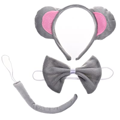 BCP Cute Animals Mouse Ears, Tail, and Bow Tie Party Halloween Costume kit Gray: Clothing