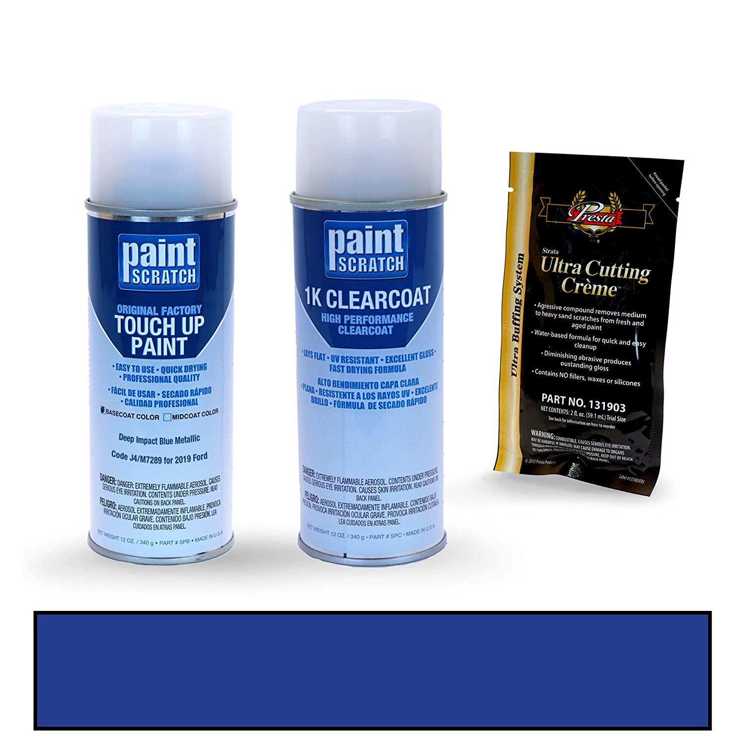 PAINTSCRATCH Deep Impact Blue Metallic J4/M7289 for 2019 Ford Fiesta - Touch Up Paint Spray Can Kit - Original Factory OEM Automotive Paint - Color Match ...