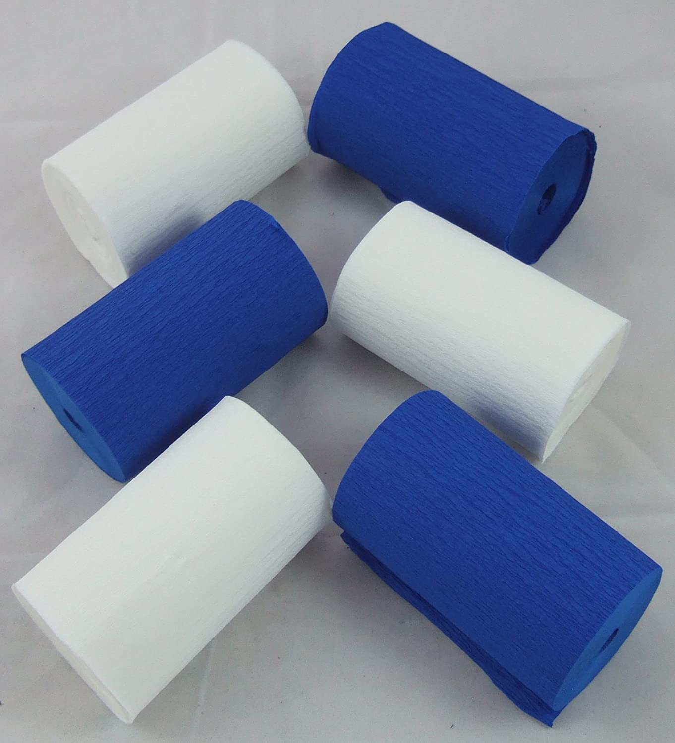 great favourite with schools and the craft industry 3 White 3 Dark Blue Crepe EXTRA WIDE Paper Streamers 83mm x 10metres Many uses as decorations marketing tools