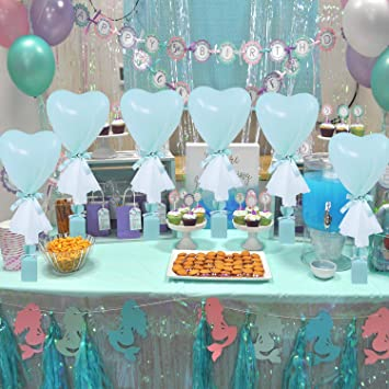 Mint Green Heart Shaded Party Balloons Tutu Tulle Balloon Centerpieces For Baby Shower Boy Wedding Birthday Party Table Centerpieces Decoration 12