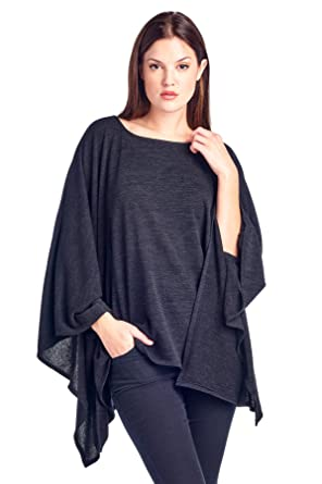 4becf29c994 Modern Kiwi Solid Knit Sweater Caftan Poncho Tunic Black One Size at ...