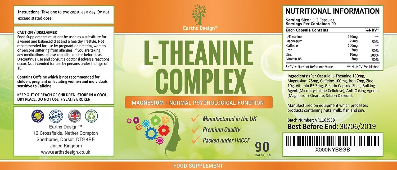 Suplemento de L-Teanina - Complejo de Alta Concentración con Magnesio y Zinc Añadidos - 90 Cápsulas (Suministro Para 3 Meses) de Earths Design: Amazon.es: ...