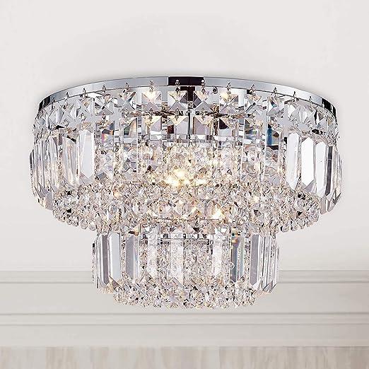 Bestier Moderne Chrome Cristal Plafonnier Éclairage Lustre Éclairage LED Plafonnier Lampe Pour Salle À Manger Salle De Bains Chambre À Coucher Salon 4