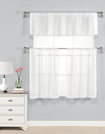 Three Piece Kitchen Cafe Tier Window Curtain Set Sheer White With Pom