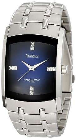 Armitron 204507dbsv de los Hombres Vestido de Reloj de Acero Inoxidable con Cristales de Swarovski: Amazon.es: Relojes