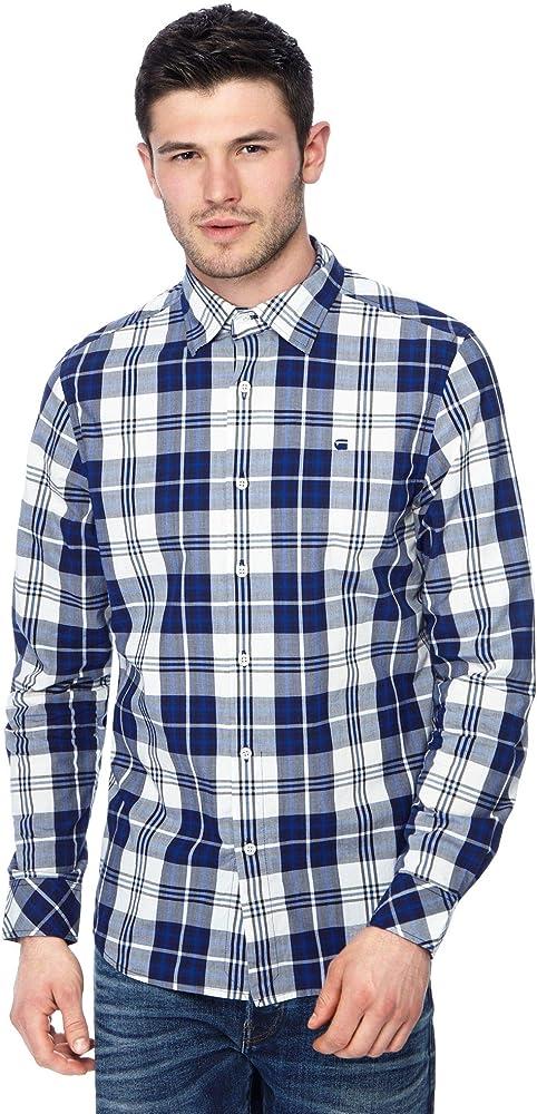 G-STAR RAW Core Straight Shirt L/s Camisa, Azul (Imperial Blue/Milk Check 8899), Medium para Hombre: Amazon.es: Ropa y accesorios
