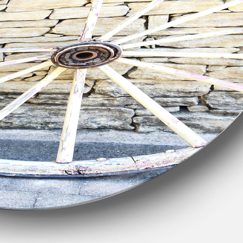 Disc of 23 23 H x 23 W x 1 D 1P White Designart Old Vintage Broken Wood Wheel Landscape Metal Artwork