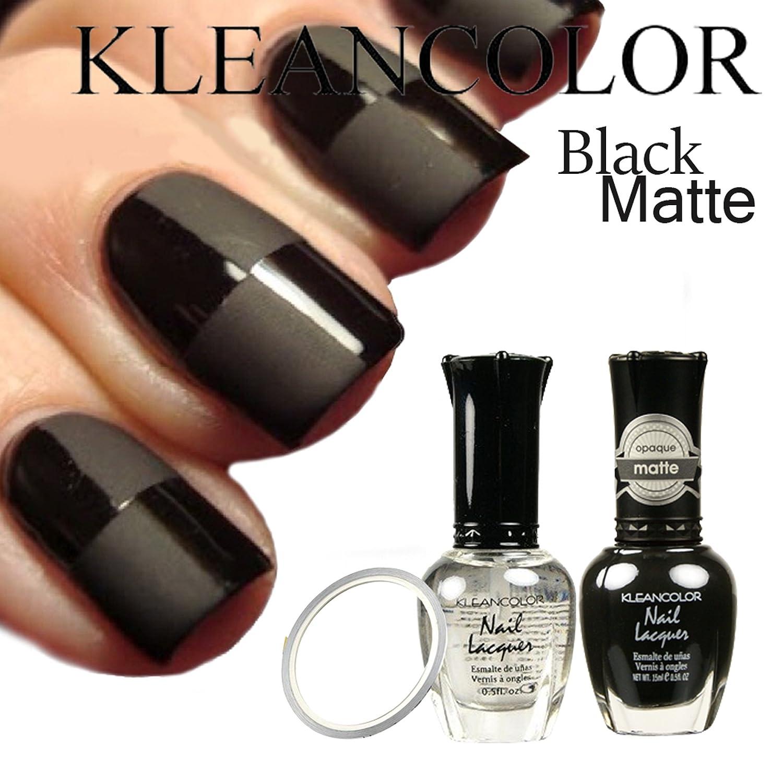 Amazon.com : KLEANCOLOR Matte Black Nail Polish #265 & #90 Madly ...