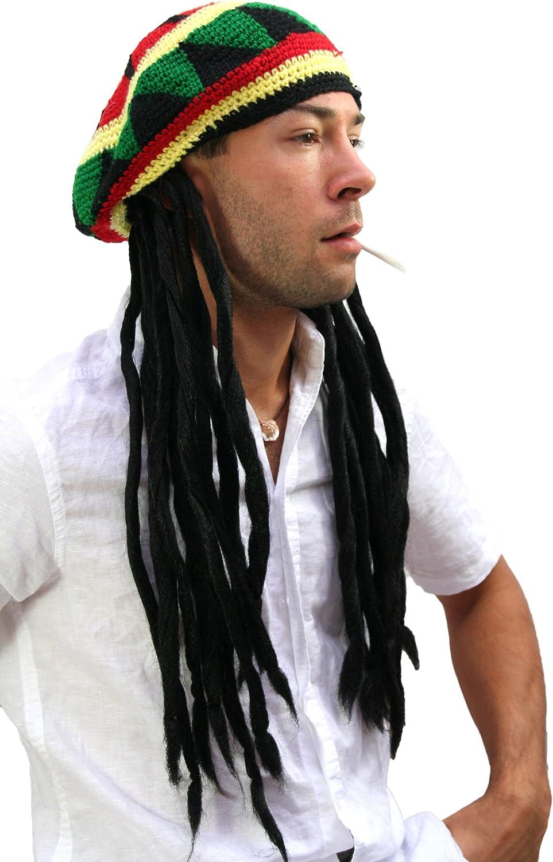 WIG ME UP- rasta2-P103 - Gorro de Punto con Dreadlocks, pelos Rasta Bob Marley, Rastafari