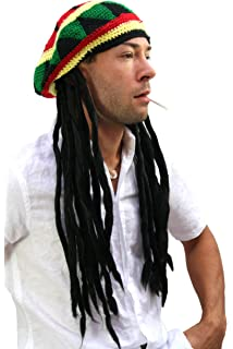 Fancy Dress Adults Knitted Rastafarian Jamaican Rasta Beanie Hat