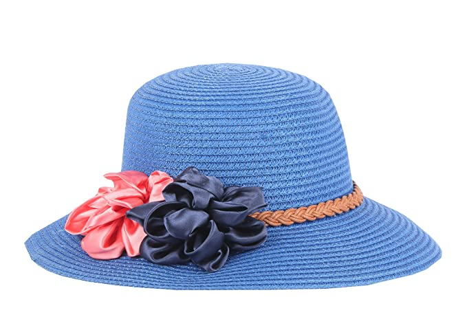 148a73f0863 Modo Vivendi Summer Hat with Flower (Light Blue)  Amazon.in ...